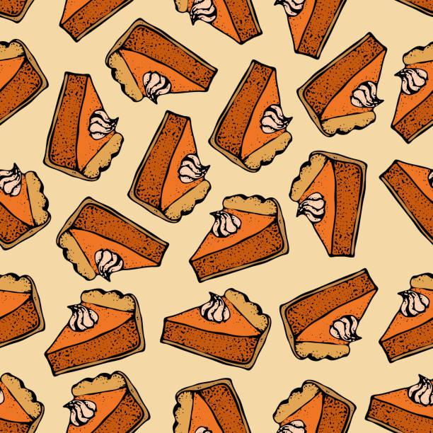 南瓜派與奶油無縫模式。手工繪製的餡餅片草圖。感恩節向量插圖。 用於標識餐廳、包裝、功能表設計 - pumpkin pie 幅插畫檔、美工圖案、卡通及圖標