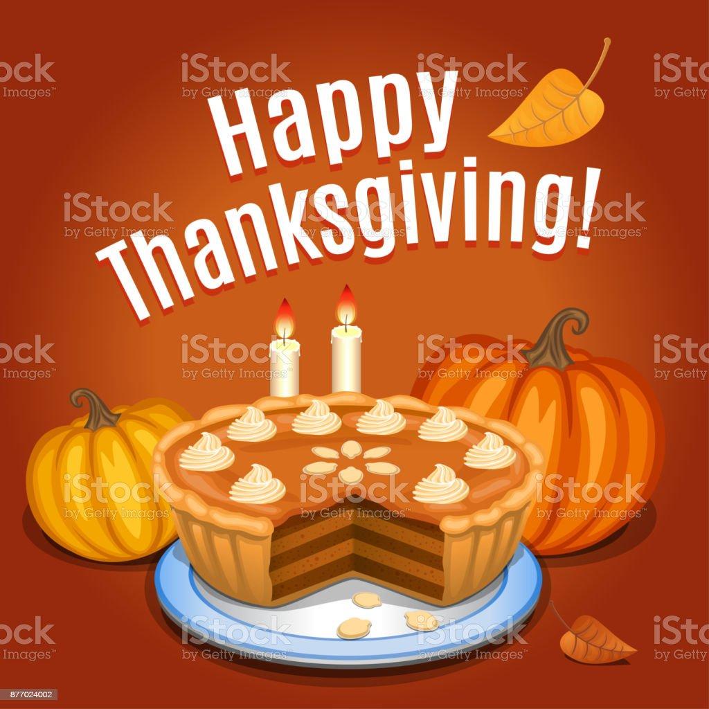 Pumpkin pie with white creme and orange pumpkin, pumpkin pie for Thanksgiving. Vector illustration. vector art illustration