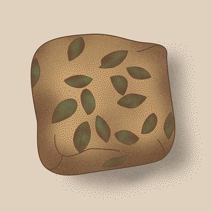 Pumpkin seed bread (Stippling Bread Illustration)