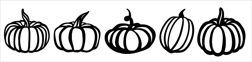 Pumpkin set. Black and white illustration in the form of a logo or sign. Silhouette for cutting on a plotter, suitable for SVG format