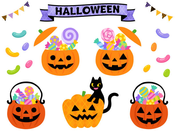 pumpkin shaped candy container & basket illustration for halloween - halloween candy stock illustrations