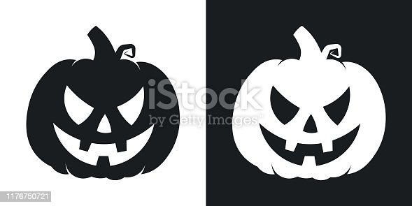 Pumpkin silhouette, halloween illustration. Two-tone vector icon on black and white background