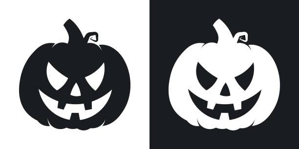 Pumpkin silhouette, halloween illustration. Vector icon on black and white background Pumpkin silhouette, halloween illustration. Two-tone vector icon on black and white background pumpkin stock illustrations