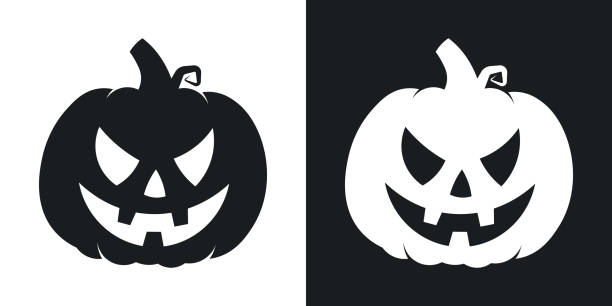 pumpkin silhouette, halloween illustration. vector icon on black and white background - pumpkin stock illustrations