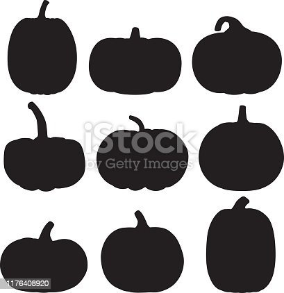 Vector silhouette of a group of pumpkins.
