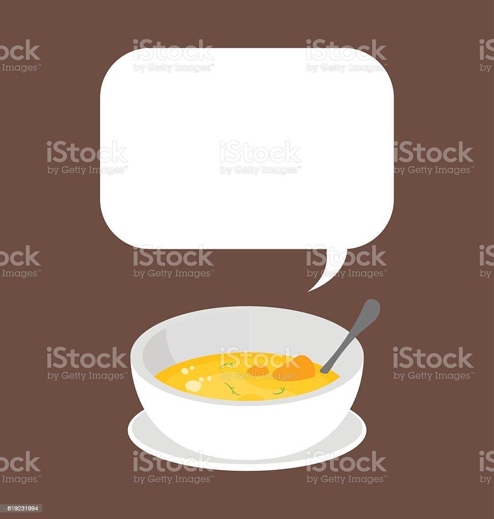 Pumpkin soup served in single white ceramic bowl