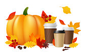 Pumpkin spice latte. Realistic coffee cups pumpkin autumn leaves. Hot autumn drinks vector illustration. Pumpkin and realistic coffee, leaf and vegetable