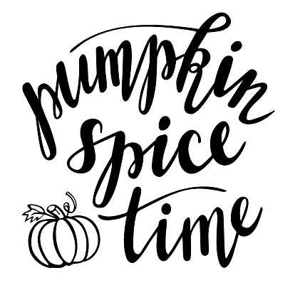 Pumpkin Spice time hand lettering. Fall, winter season and Thanksgiving day quotes and phrases for cards, banners, posters, mug, scrapbooking, pillow case, phone cases and clothes design.