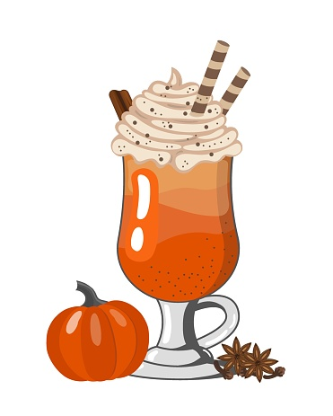 Pumpkin spiced latte or coffee in glass. Autumn or winter hot drink on on white background. Vector illustration