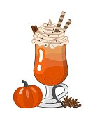 istock Pumpkin spiced latte or coffee in glass. Autumn or winter hot drink on on white background. Vector illustration 1291059298