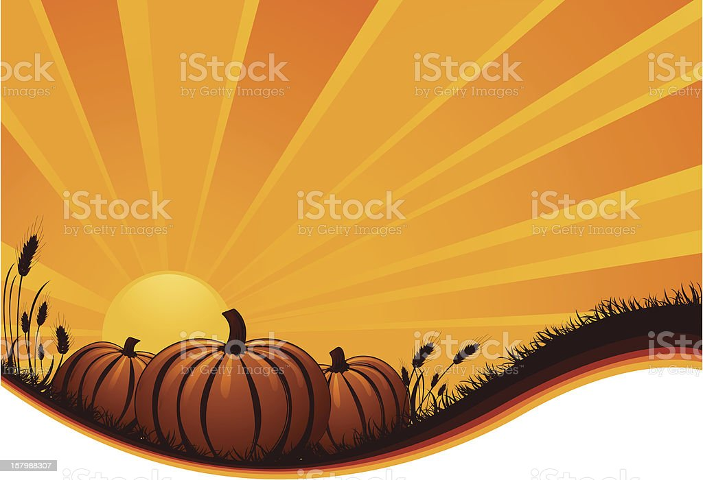 Pumpkin Sunrise/Sunset vector art illustration