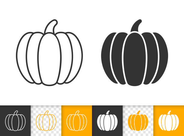 Pumpkin thanksgiving simple black line vector icon Pumpkin black linear and glyph icons. Thin line sign of thanksgiving day. Halloween outline pictogram isolated on white, transparent background. Gourd Vector Icon shape. Squash simple symbol closeup pumpkin stock illustrations