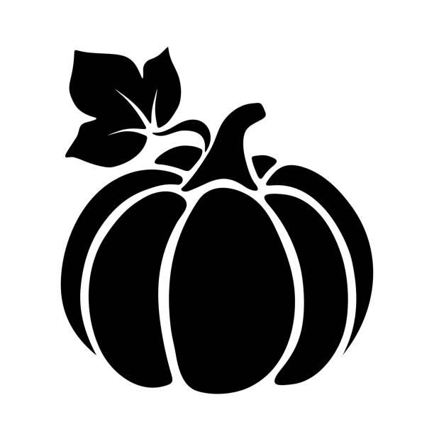 Pumpkin. Vector black silhouette. Vector black silhouette of a pumpkin. pumpkin stock illustrations