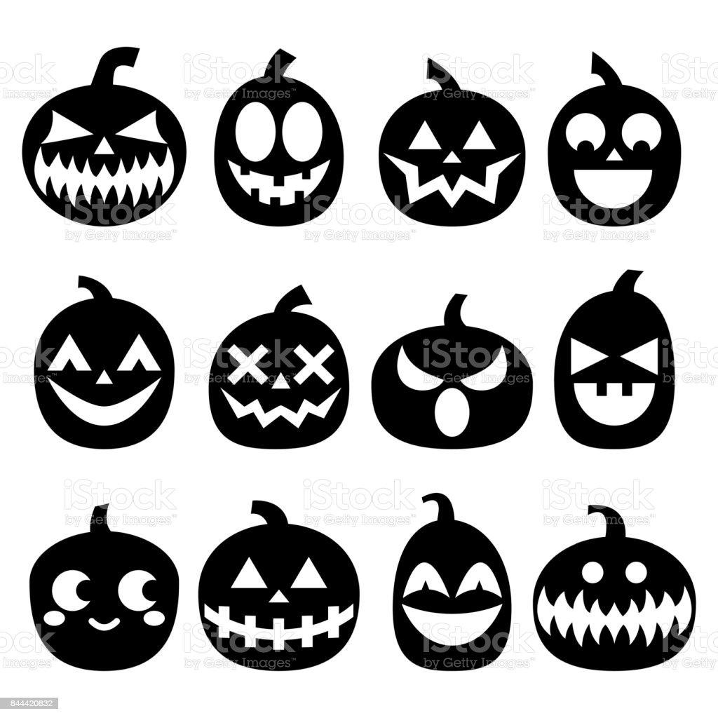 pumpkin vector icons set halloween scary faces design set horror