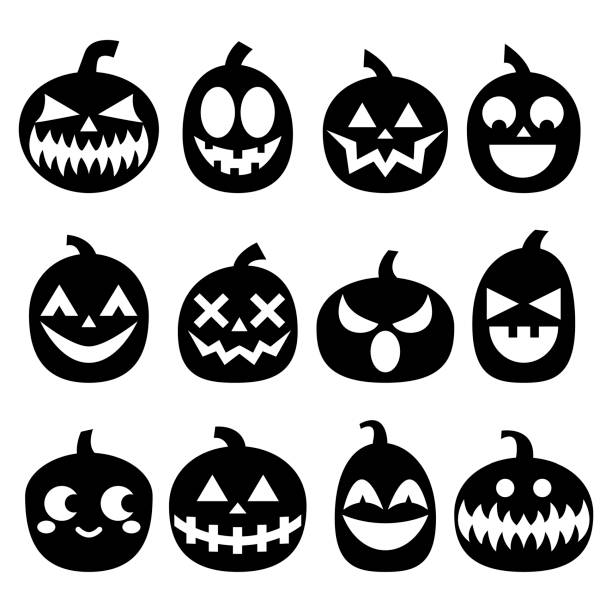 pumpkin vector icons set halloween scary faces design set horror decoration in black on