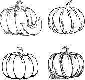 Pumpkins, set of 4 variation.