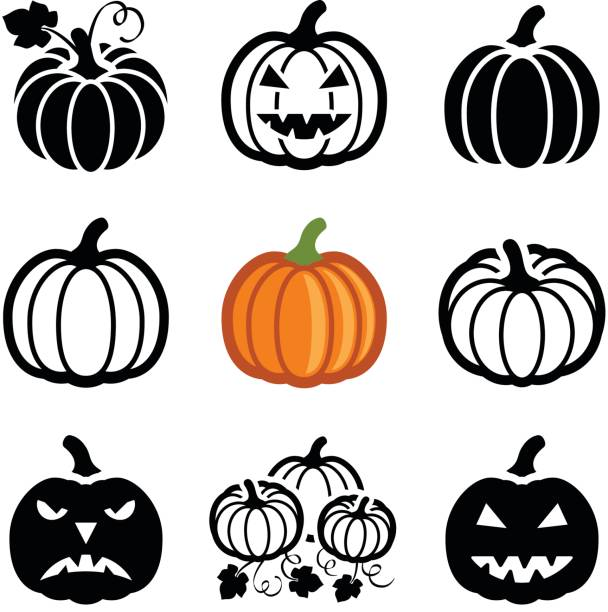 Pumpkin Pumpkin halloween icon collection - vector outline and silhouette pumpkin stock illustrations