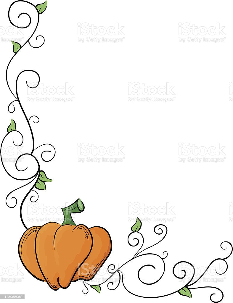 pumpkin vine border stock vector art more images of autumn rh istockphoto com Calligraphy Designs Clip Art Oktoberfest Clip Art Frames