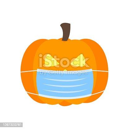 istock Pumpkin wearing medical face mask in flat design. Halloween festival in Covid-19 Coronavirus outbreak concept vector illustration on white background. 1267320761