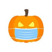 Pumpkin wearing medical face mask in flat design. Halloween festival in Covid-19 Coronavirus outbreak concept vector illustration on white background.