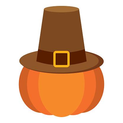 Pumpkin with a pilgrim hat