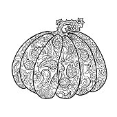 Pumpkin with ornament coloring page. Halloween coloring page.
