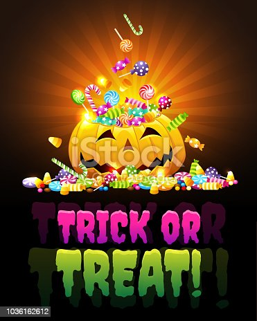 A Halloween poster with a happy pumpkin with candies