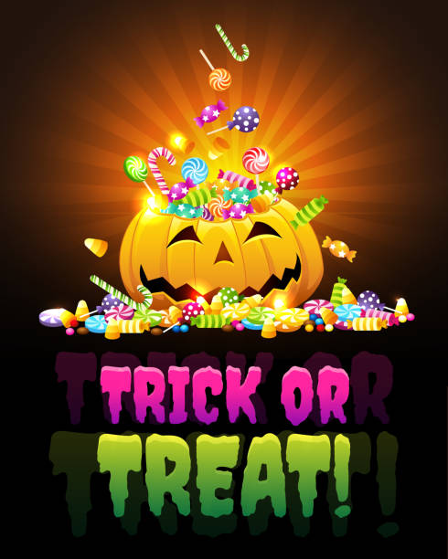 pumpking trick-or-treat greeting - halloween candy stock illustrations