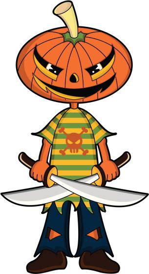 Pumpkinhead Pirate with Swords