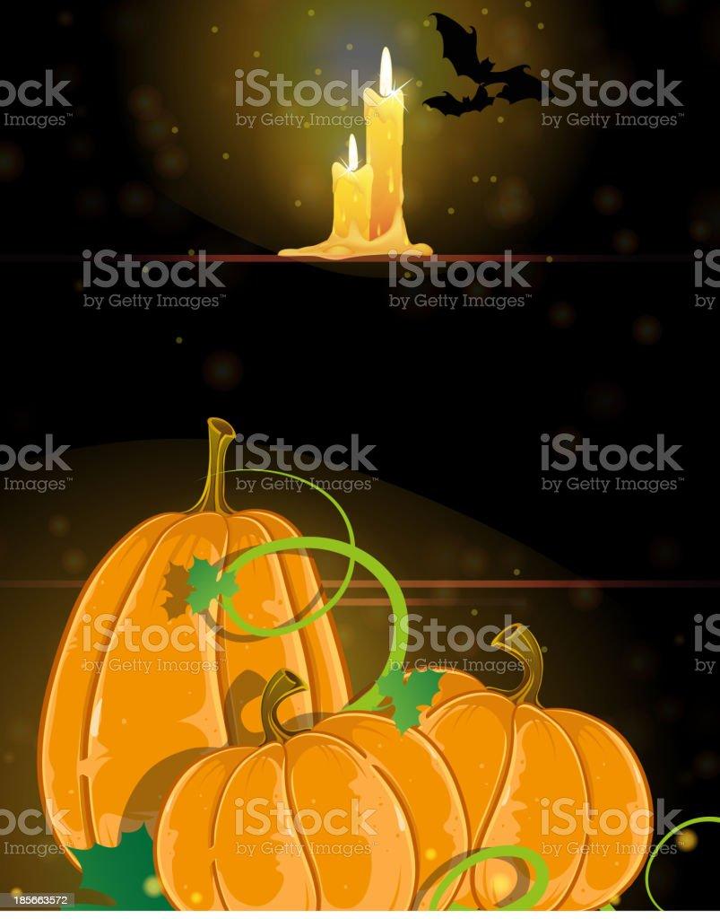 Pumpkins and burning candles royalty-free stock vector art