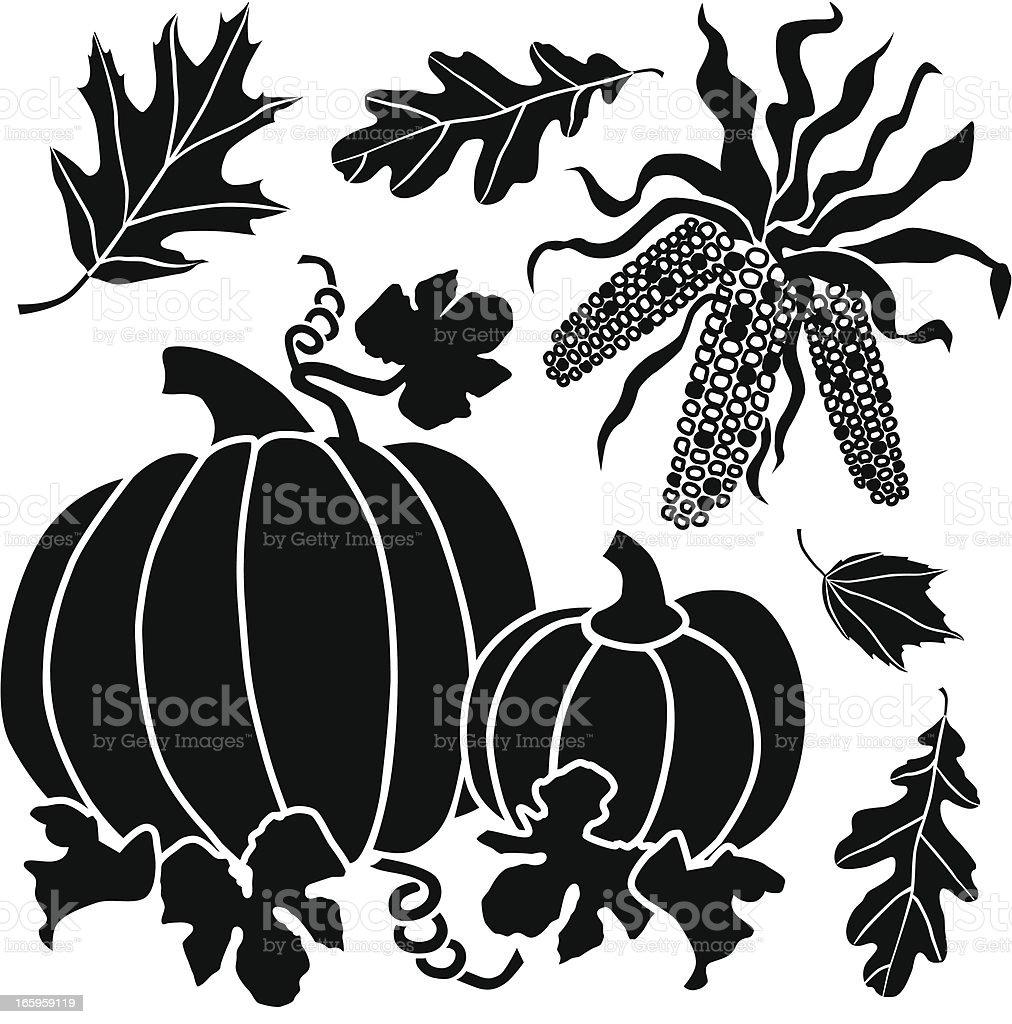 pumpkins and Native American corn royalty-free stock vector art