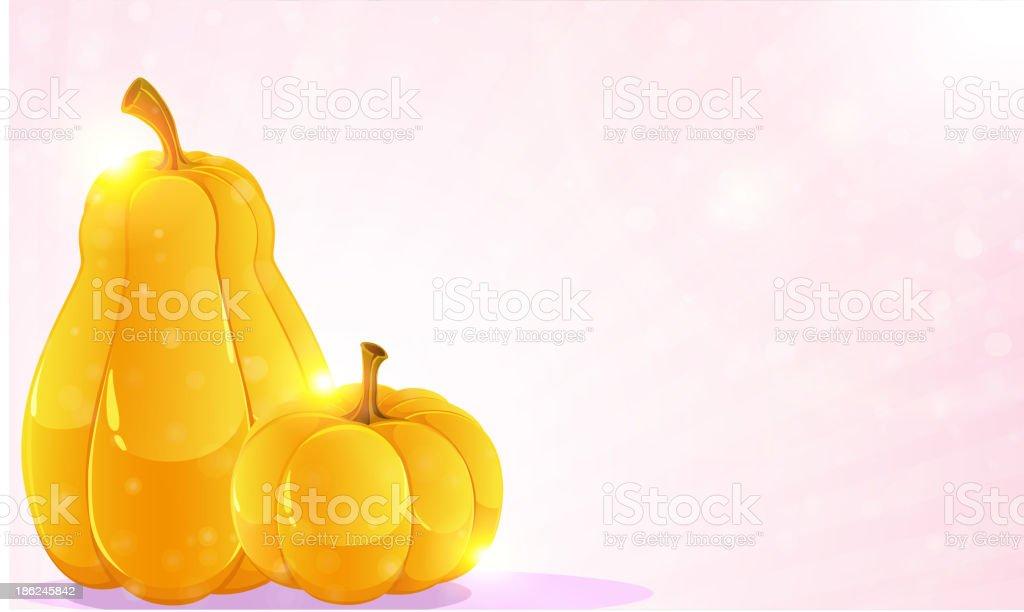 Pumpkins and pink shine royalty-free stock vector art