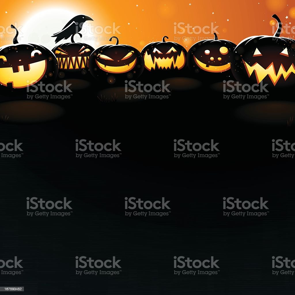 Pumpkins at Dusk - Very detailed vector art illustration