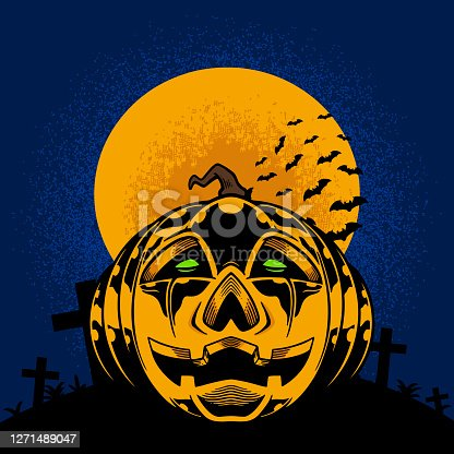 Pumpkins in the full moon and tombstones for halloween theme t-shirt and apparel trendy design with simple typography, good for t-shirt graphics, poster, print and other uses. Vector illustration