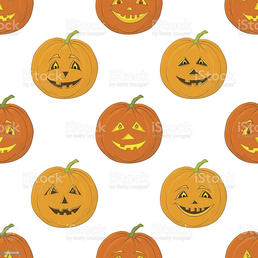Pumpkins Jack O Lantern, seamless background royalty-free stock vector art
