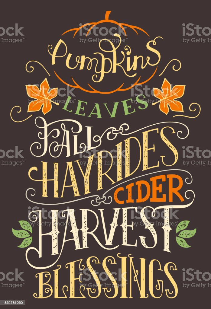 Pumpkins leaves fall hay rides typography sign vector art illustration