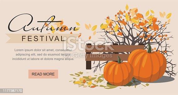 Autumn festival web banner. Pumpkins next to the berry Bush. Vector Illustration