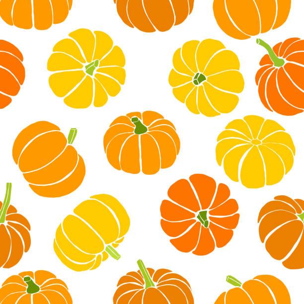nahtlose muster kürbisse, thanksgiving-hintergrund - flaschenkürbis stock-grafiken, -clipart, -cartoons und -symbole