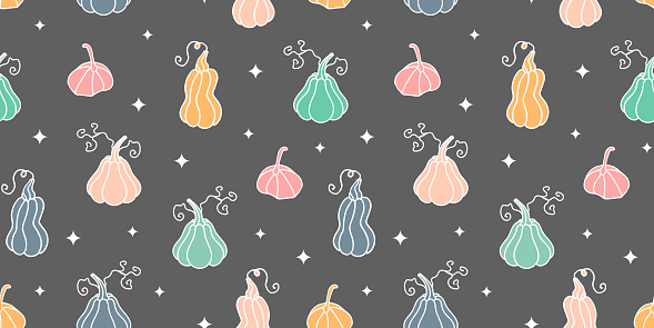 pumpkins seamless pattern.cute colored pumpkins seamless pattern.Cute design for Halloween or Thankful day.Harvest festival or Thanksgiving day.Design for  web banner,wrapping paper,geeting card,cover