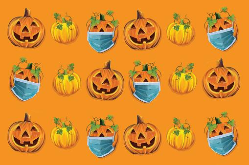 Pumpkins wearing face masks pattern. Coronavirus concept