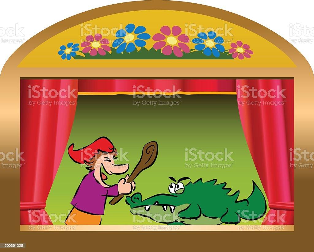Punch And Crocodile vector art illustration