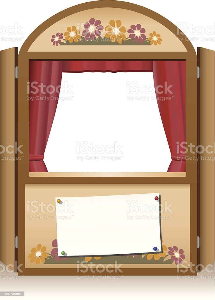 Punch and Judy Booth Brown vector art illustration