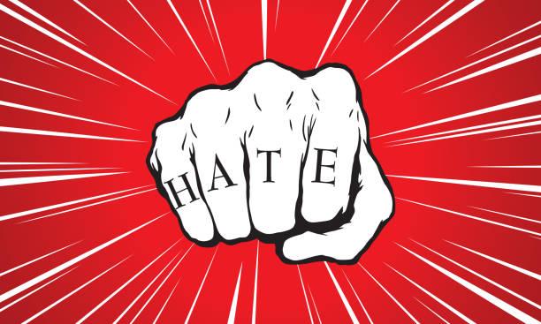 illustrazioni stock, clip art, cartoni animati e icone di tendenza di punch fist with hate message - furioso