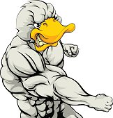 Punching duck mascot