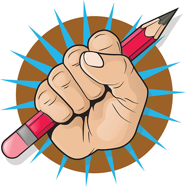 Punching Fist and Pencil Sign. vector art illustration