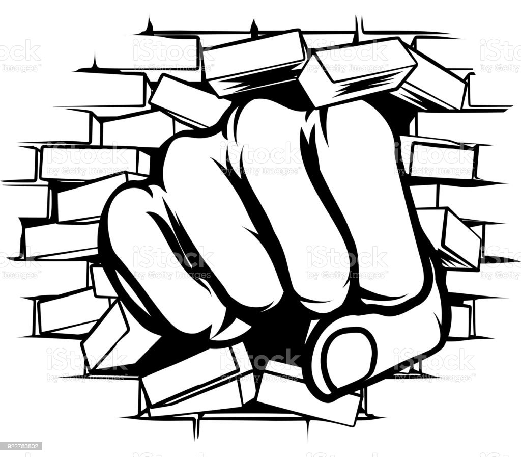 punching fist through brick wall stock vector art more images of rh istockphoto com Vintage Brick Wall Vintage Brick Wall