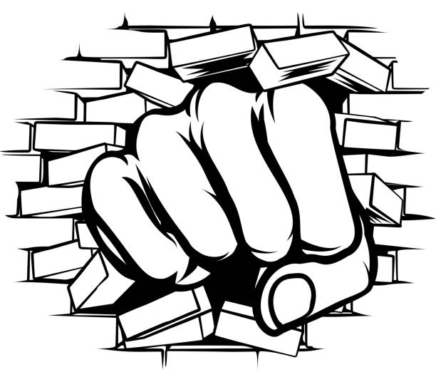 Punching Fist Through Brick Wall vector art illustration