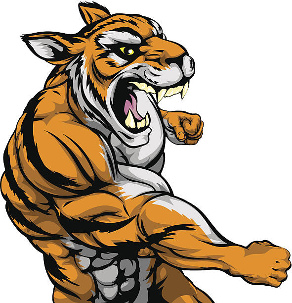 Punching tiger mascot vector art illustration
