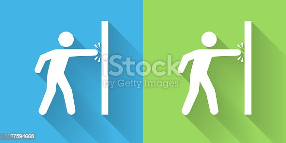 Punching Wall Icon with Long Shadow. The icon is on Blue Green Background with Long Shadow. There are two background color variations included in this file. The icon is rendered in white color and the background is blue or green. There is also a 45 degree long shadow.