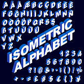 three dimensional isometric alphabet, numbers and in vector